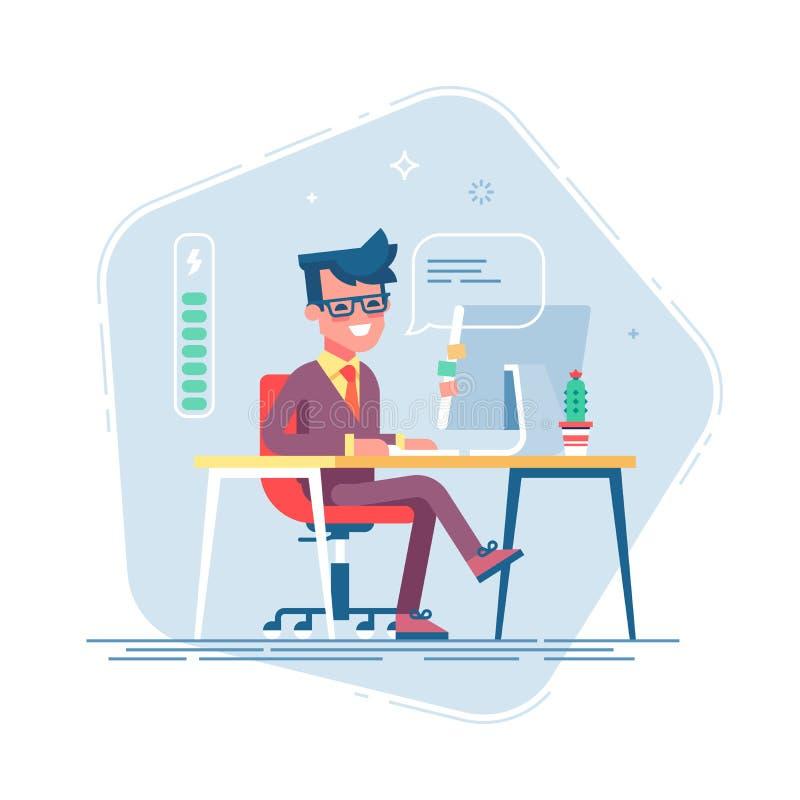 Красивый молодой характер бизнесмена вполне энергии Вполне энергии, который нужно работать Иллюстрация шаржа вектора плоская иллюстрация вектора