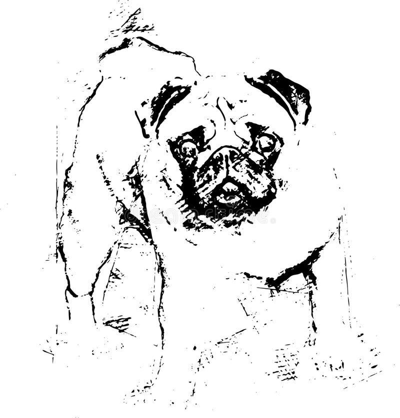 Красивый мопс стоит в луге - иллюстрации стоковые изображения rf