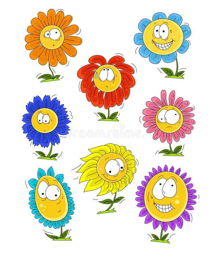 Красивый набор с милыми цветками мультфильма с различными эмоциями иллюстрация штока