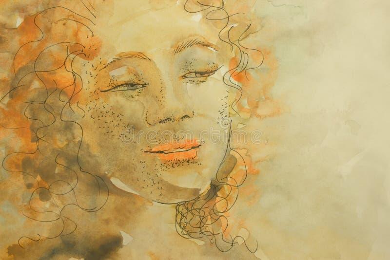 Красивый нежный чувственный мулат девушки смотрит в расстояние через ресницы иллюстрация вектора