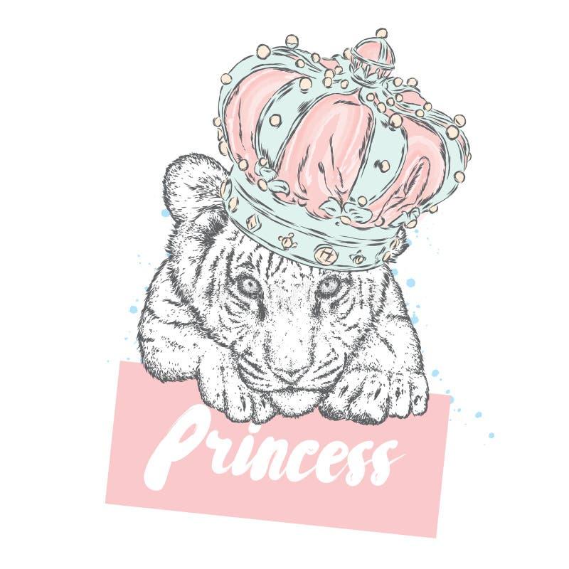 Красивый новичок тигра в кроне также вектор иллюстрации притяжки corel бесплатная иллюстрация