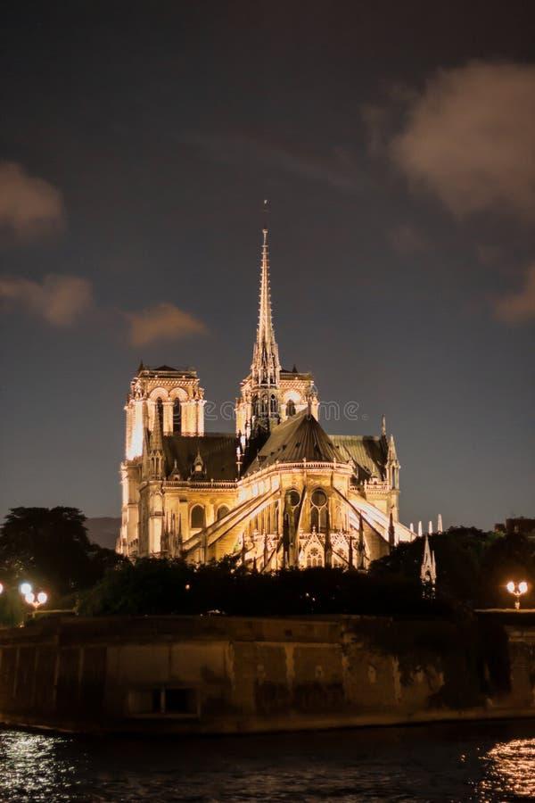 Красивый Нотр-Дам de Париж вечером стоковое фото rf