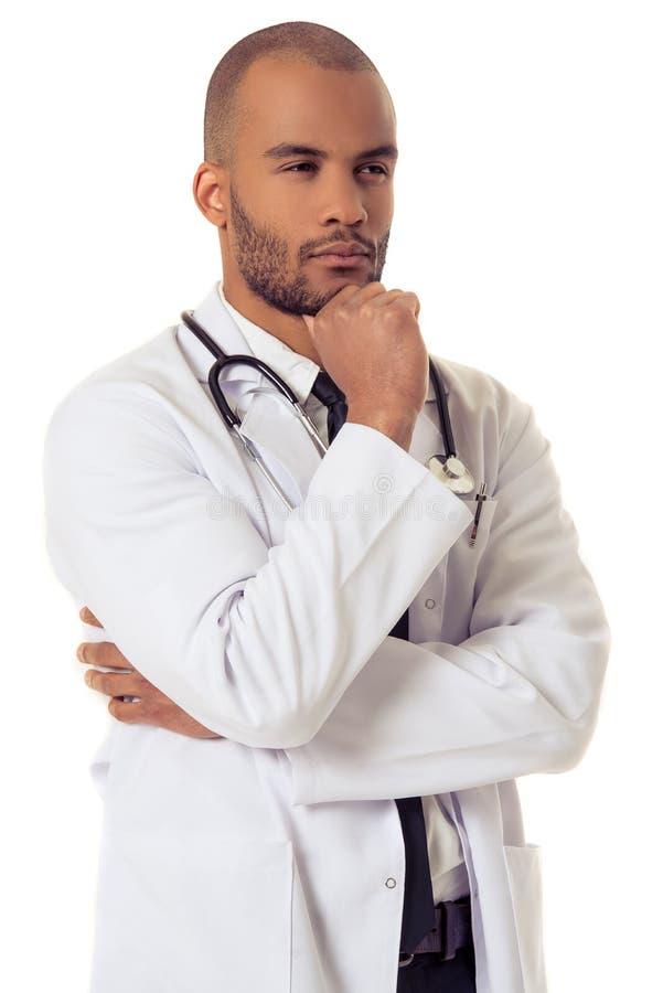 Красивый доктор американца Афро стоковое изображение rf