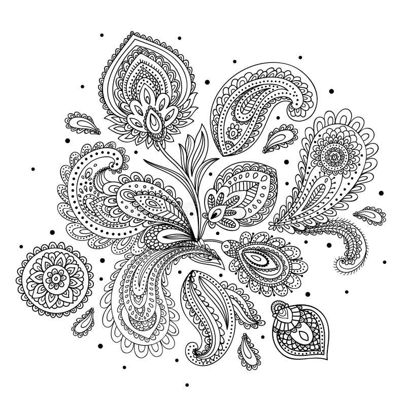 Красивый орнамент Пейсли индейца иллюстрация штока
