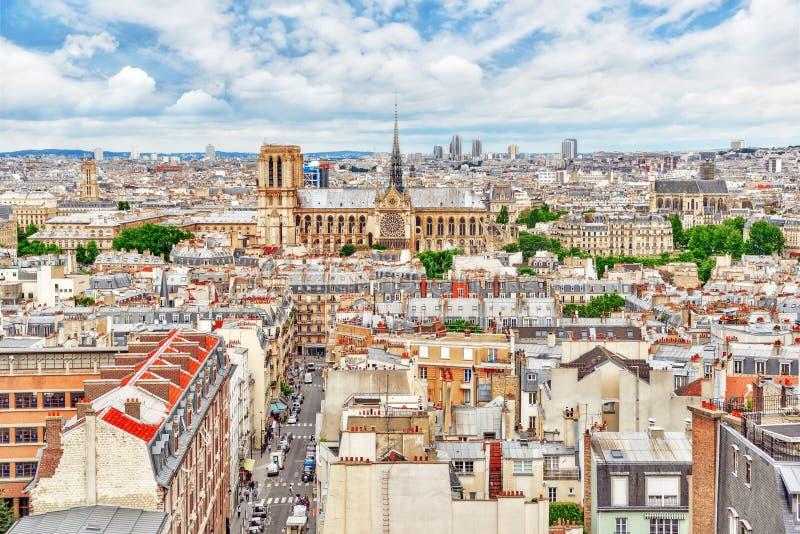Красивый панорамный взгляд Парижа от крыши пантеона стоковая фотография rf