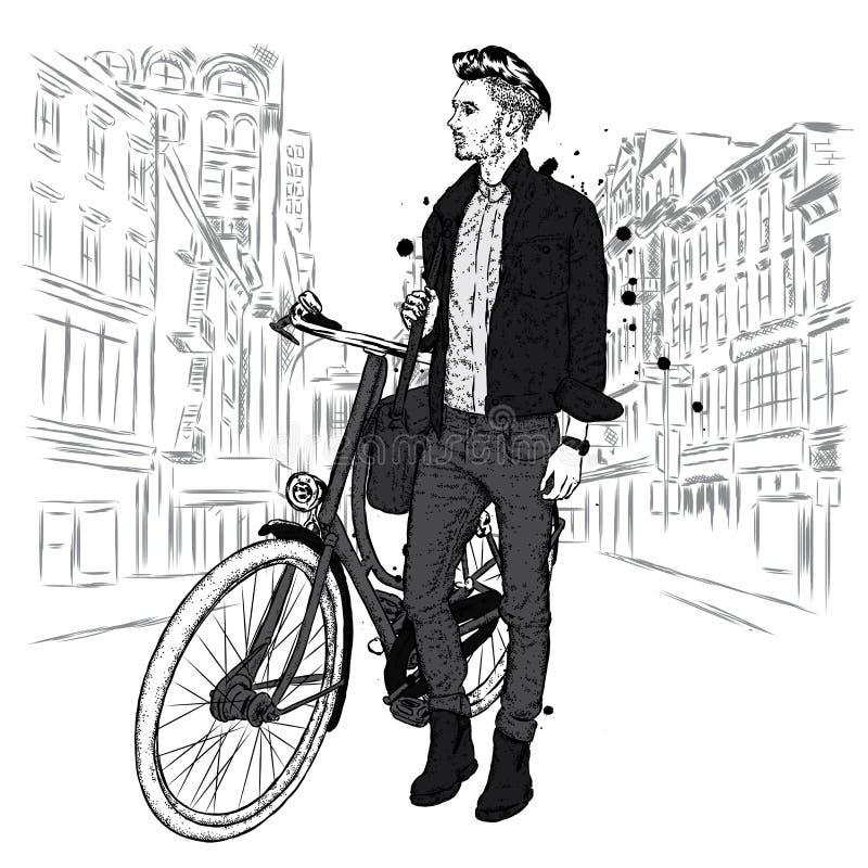 Красивый парень в джинсах и куртке с винтажным велосипедом на улице города Битник также вектор иллюстрации притяжки corel иллюстрация вектора