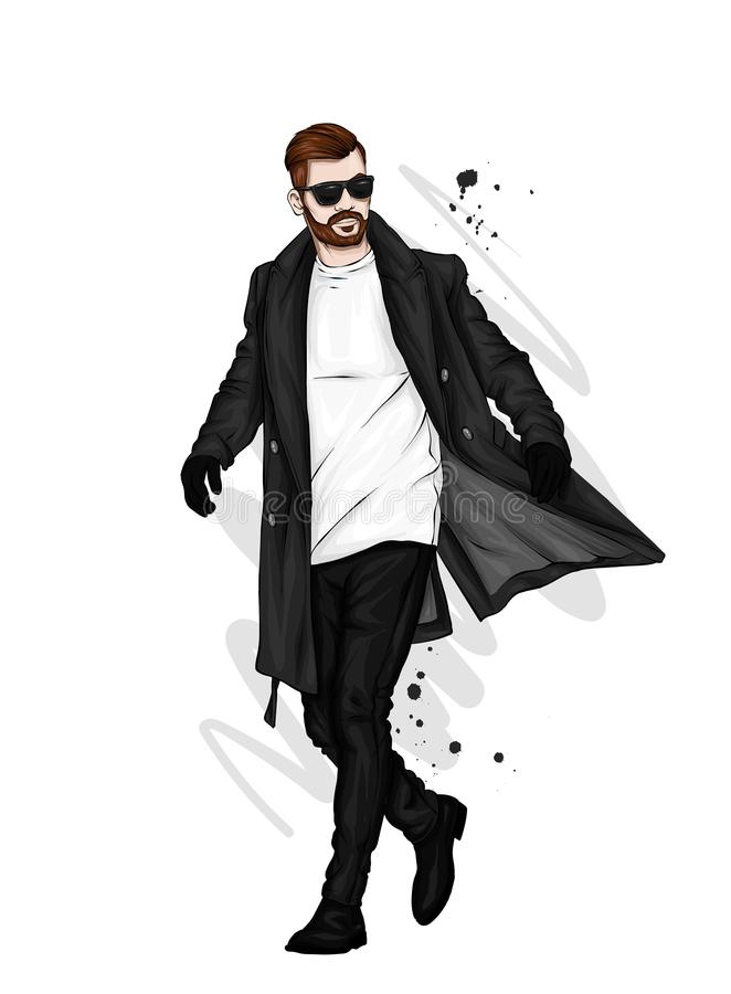 Красивый парень в стильных одеждах Битник также вектор иллюстрации притяжки corel иллюстрация штока