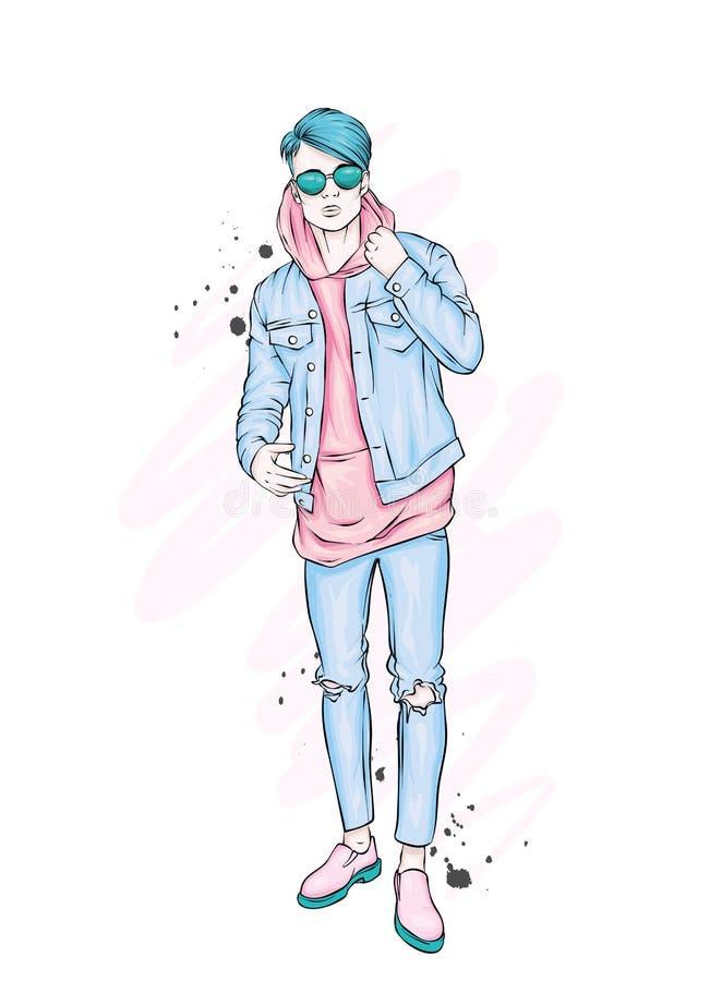 Красивый парень в стильных одеждах Битник также вектор иллюстрации притяжки corel иллюстрация вектора