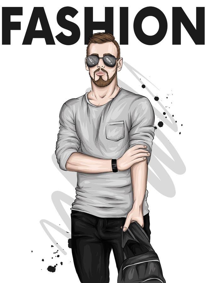 Красивый парень в стильных одеждах и стеклах Иллюстрация вектора для поздравительной открытки или плаката Мода & стиль иллюстрация вектора