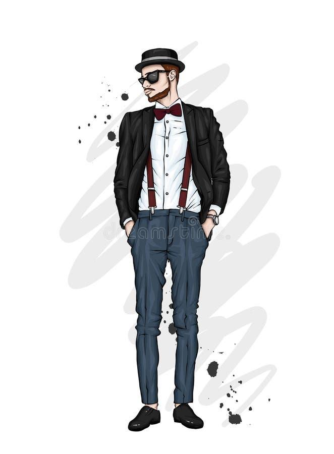 Красивый парень в стильных одеждах и шляпе Битник также вектор иллюстрации притяжки corel бесплатная иллюстрация