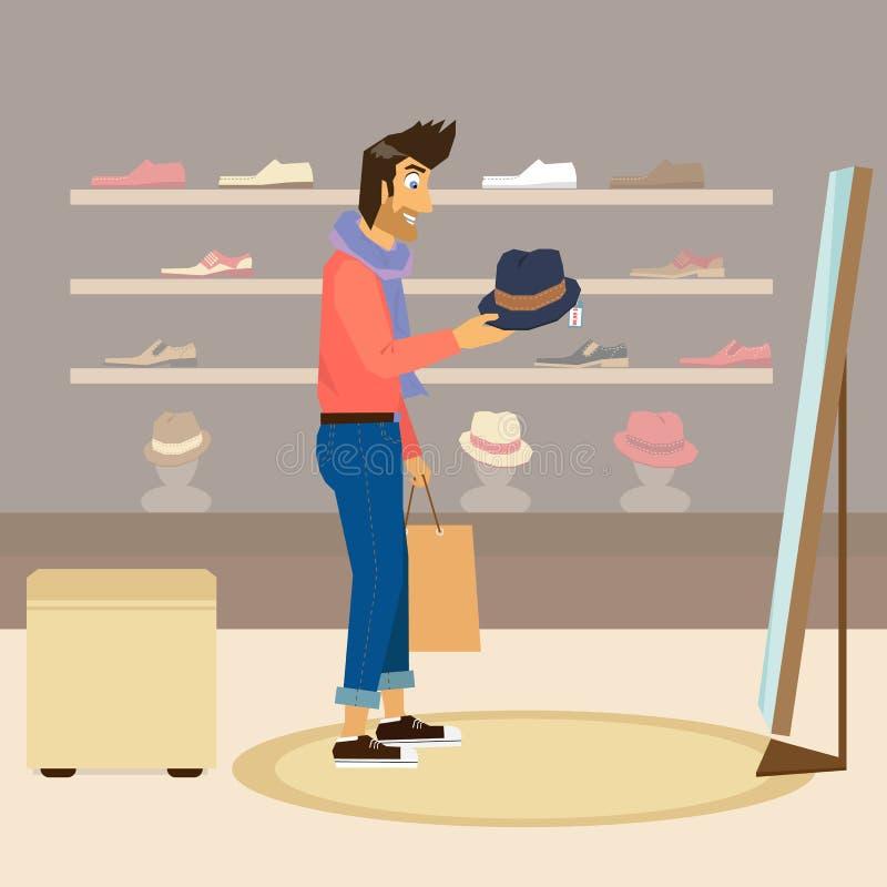 Красивый парень делает покупки иллюстрация штока