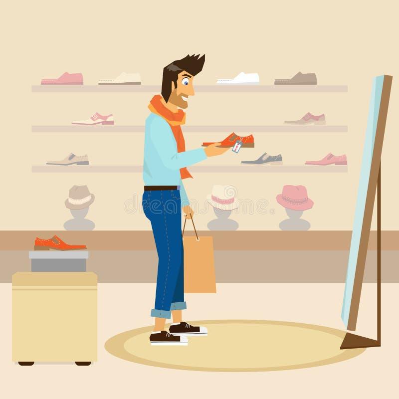Красивый парень делает покупки бесплатная иллюстрация