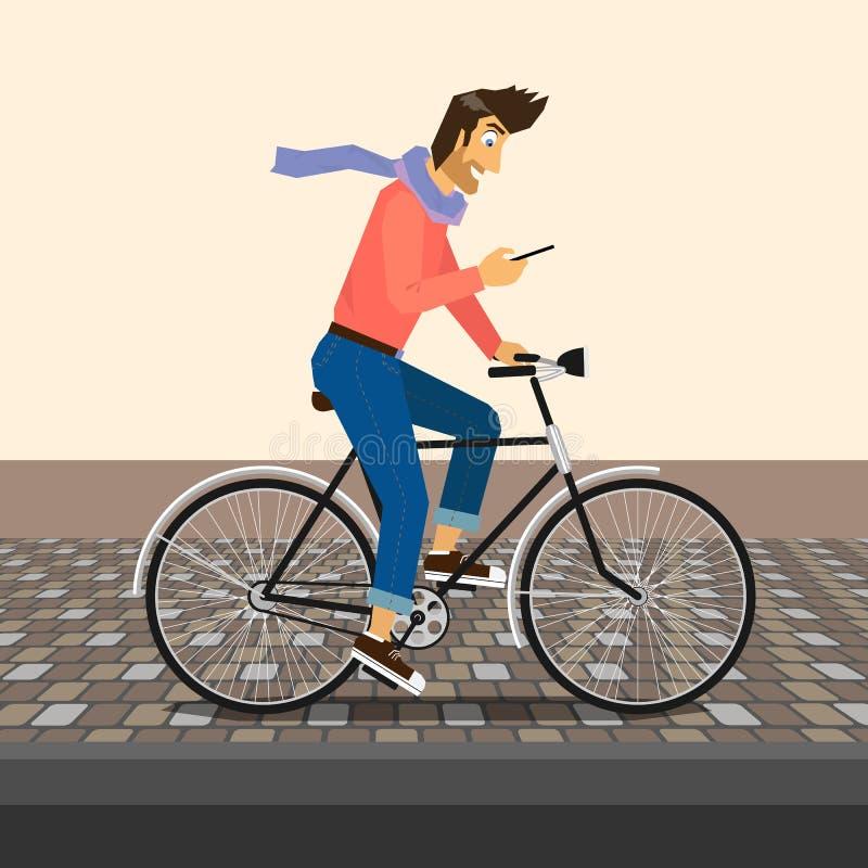 Красивый парень едет велосипед бесплатная иллюстрация