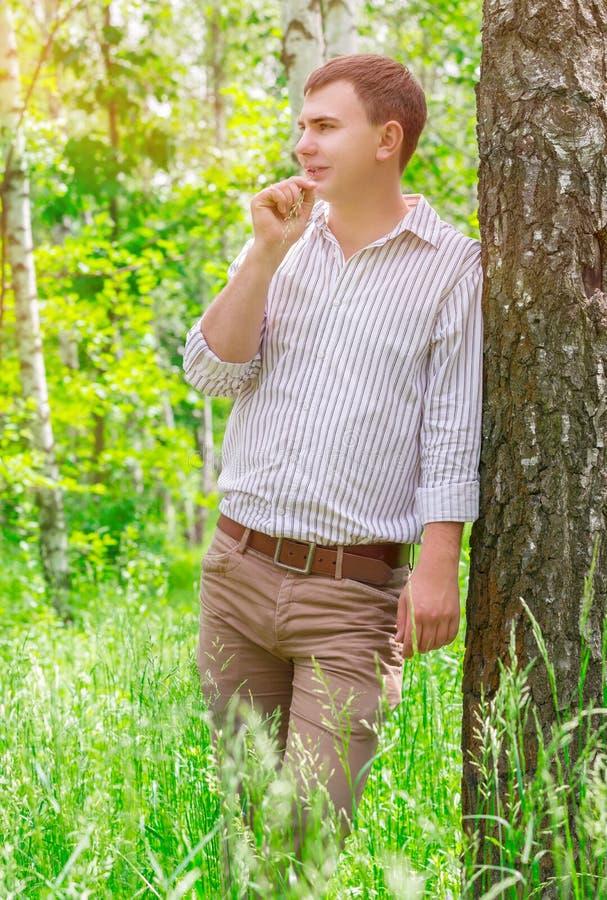 Красивый парк парня весной стоковое изображение rf