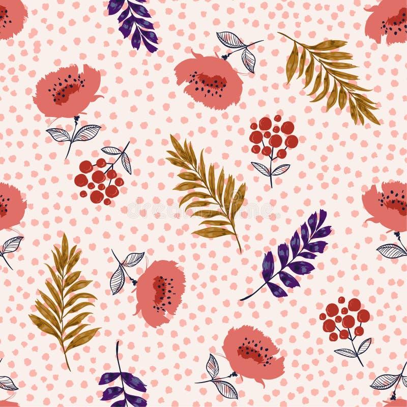 Красивый пастельный безшовный зацветая вектор цветочного узора, Flowe бесплатная иллюстрация