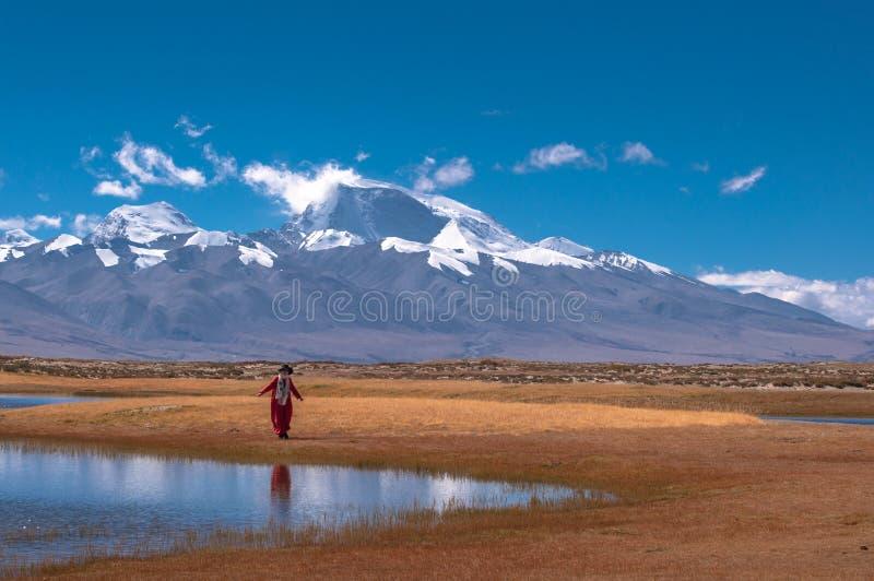 Красивый пейзаж: Женщины и гора снега стоковые изображения rf