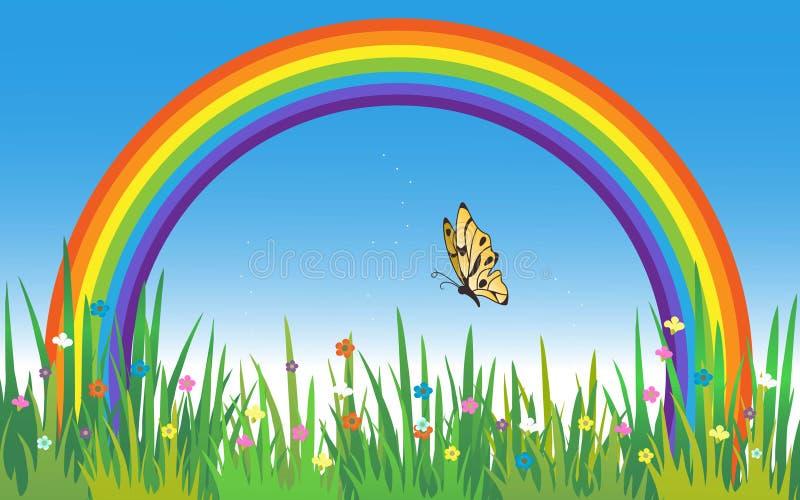 Красивый пейзаж радуги с травой, цветками и бабочкой иллюстрация штока