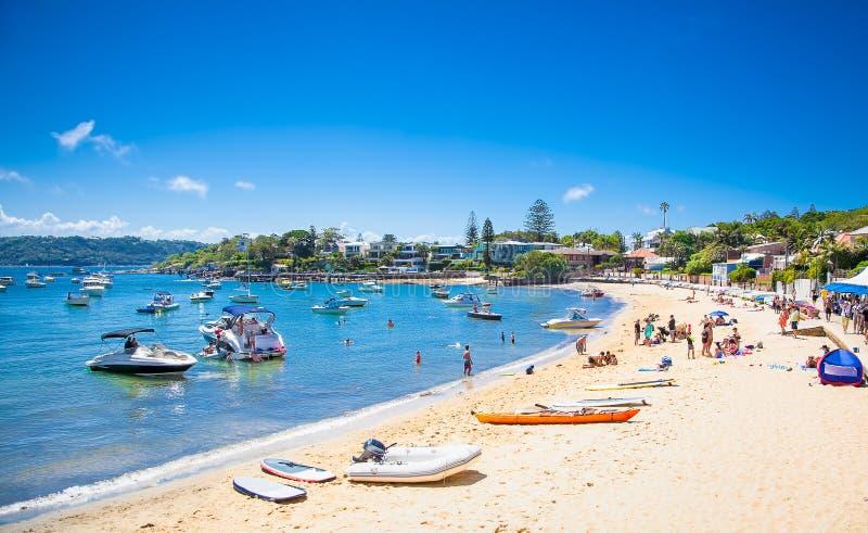 Красивый песчаный пляж в заливе Уотсона в Сиднее, NSW, Австралии стоковая фотография