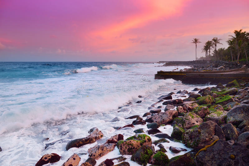 Красивый пинк подкрашивал волны ломая на скалистом пляже на восходе солнца на восточном побережье большого острова Гаваи стоковые изображения