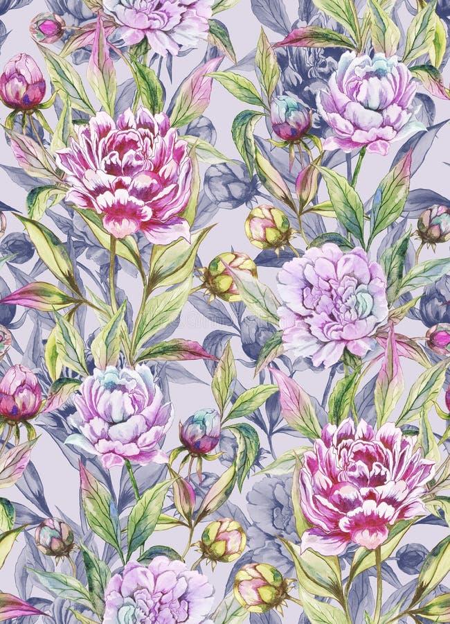 Красивый пион цветет с бутонами и листьями в прямых линиях на свете - серой предпосылке флористическая картина безшовная иллюстрация вектора