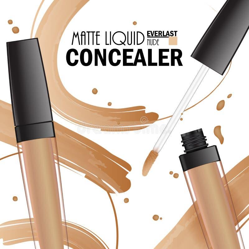 Красивый плакат Concealer для продвижения косметического наградного продукта Косметические объявления для упаковки с жидкостными  бесплатная иллюстрация