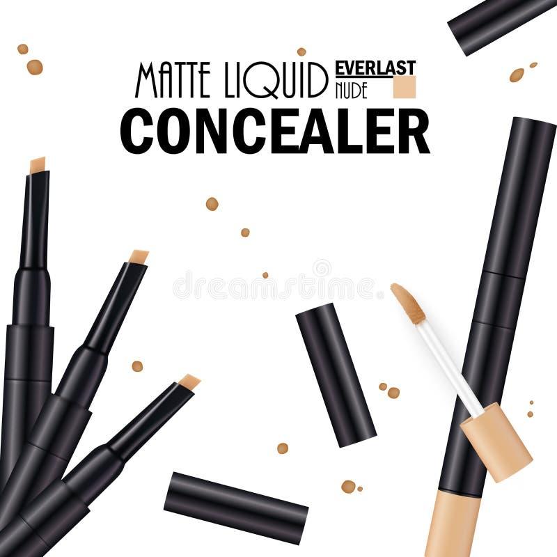 Красивый плакат Concealer для продвижения косметического наградного продукта Косметические объявления для упаковки с жидкостными  иллюстрация вектора