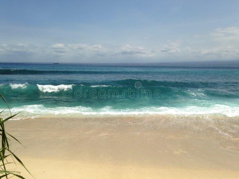 Красивый пляж, голубое небо, взморье, свирепствуя волны, тропический рай стоковые изображения