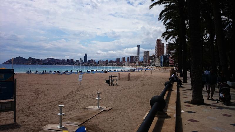 Красивый пляж, Benidorm, Испания стоковые изображения rf