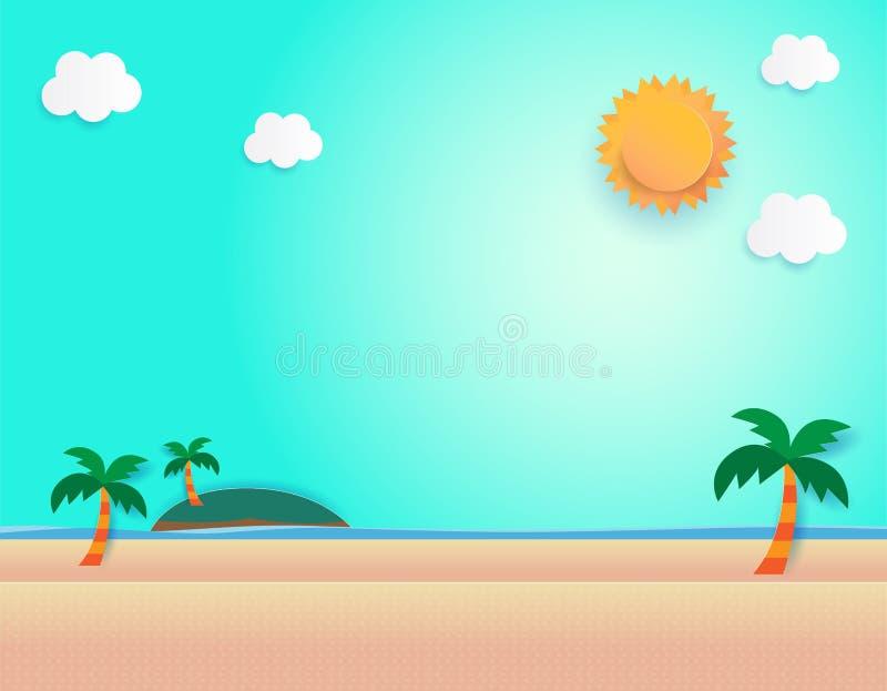 Красивый подъем солнца на пляж, вид на море и seascape подъема солнца отрезок бумаги и стиль ремесла вектор, иллюстрация иллюстрация штока