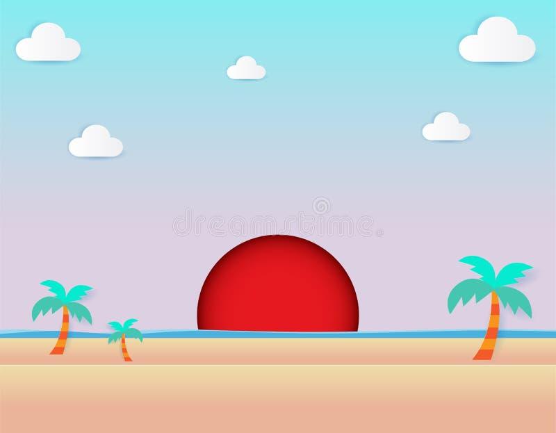 Красивый подъем солнца на пляж, seascape подъема вида на море и солнца и illustra вектора дизайна естественной предпосылки цветов иллюстрация штока