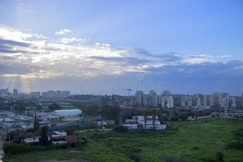 Красивый подъем Солнця в Израиль стоковое изображение rf