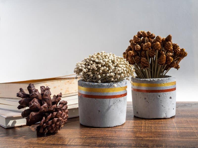 Красивый покрашенный конкретный плантатор с высушенными цветками Handmade бак цемента для домашнего украшения стоковая фотография