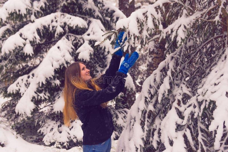 Красивый портрет девушки в лесе зимы стоковые фото