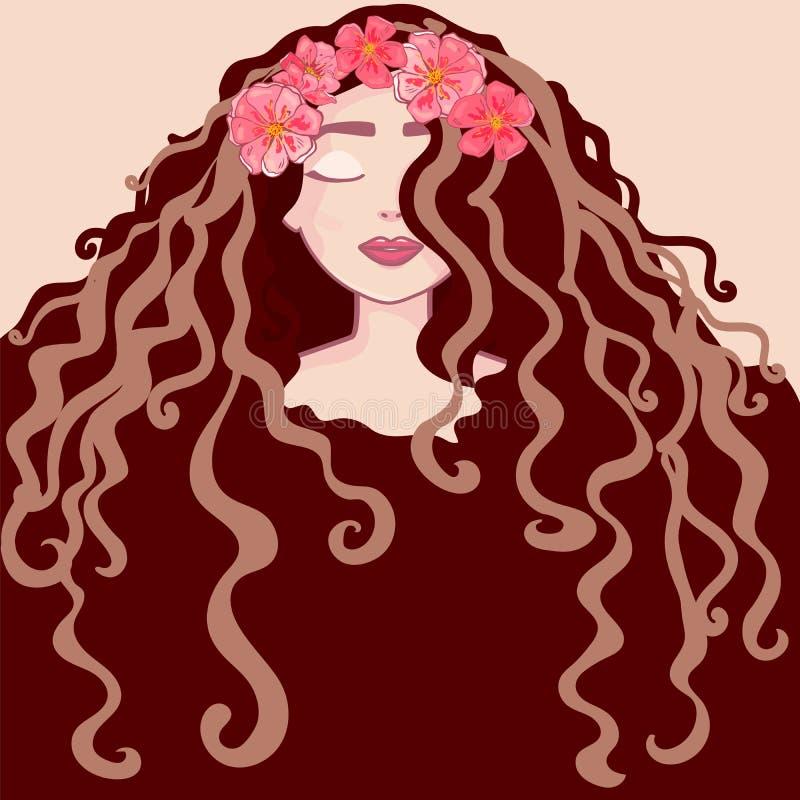 Красивый портрет маленькой девочки с венком цветков длинные волосы, стили причёсок салона вьющиеся волосы и ультрамодный вектор с бесплатная иллюстрация