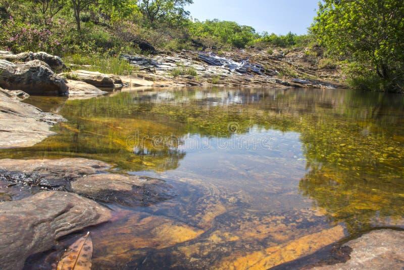 Красивый поток в солнечном дне - предпосылке водопада стоковое фото rf