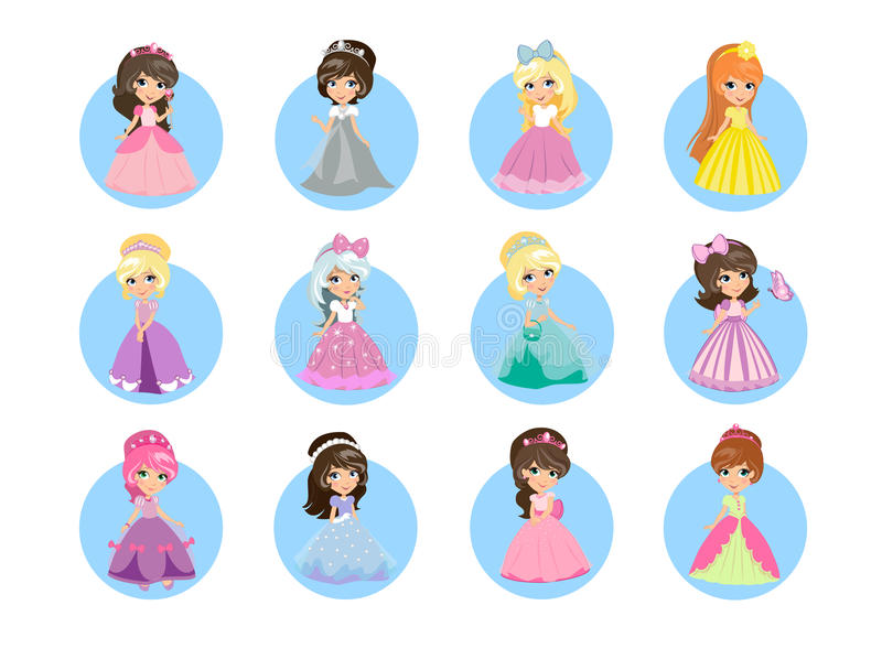 Красивый принцессы Плоск Вектор Значок Устанавливать шаржа иллюстрация штока