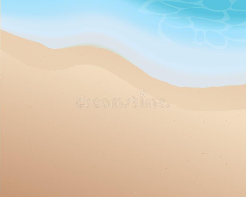 Красивый пустой пляж с голубым тоном волны Предпосылка моря и пляжа Сезон лета тропическо иллюстрация вектор бесплатная иллюстрация