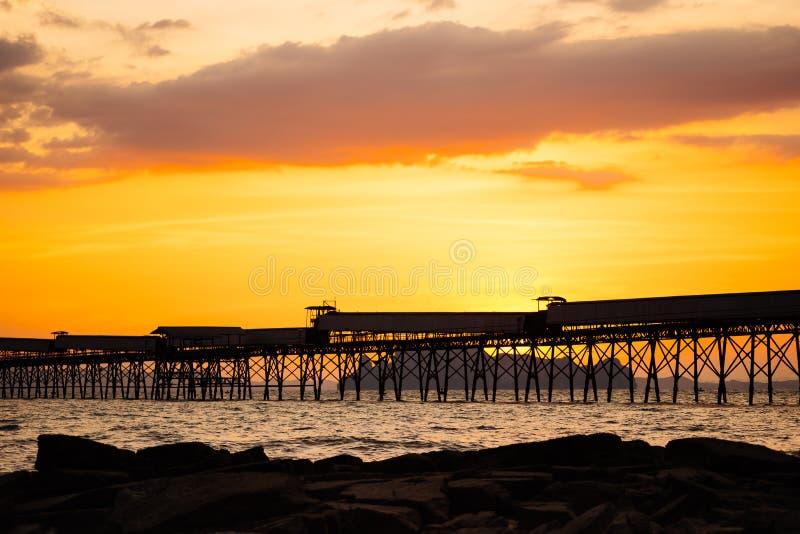 Красивый пылая ландшафт пляжа захода солнца на тропическом море позади стоковые изображения rf
