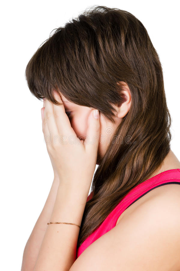 Красивый плакать маленькой девочки. изолированный стоковое изображение rf