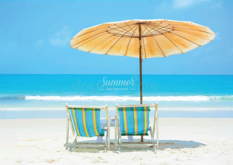 Красивый пляж лета с шезлонгами и зонтиком бесплатная иллюстрация