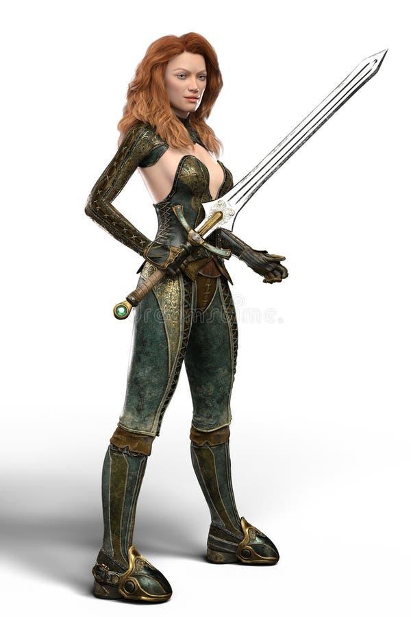 Красивый ратник женщины redhead держа шпагу изолированный иллюстрация штока