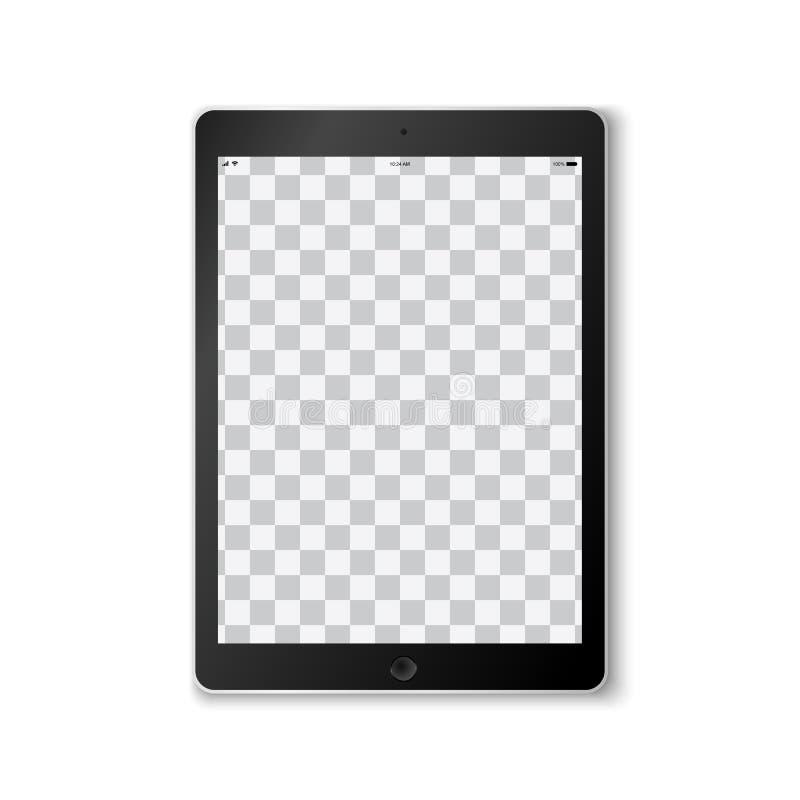 Красивый реалистический вектор современного черного покрашенного планшета на белой предпосылке с прозрачным шаблоном экрана иллюстрация вектора