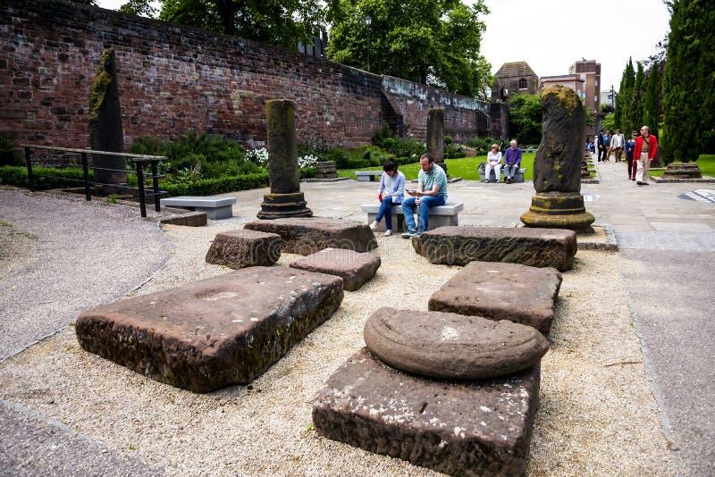 Красивый римский сад в Честере город графства Чешира в Англии стоковое фото rf