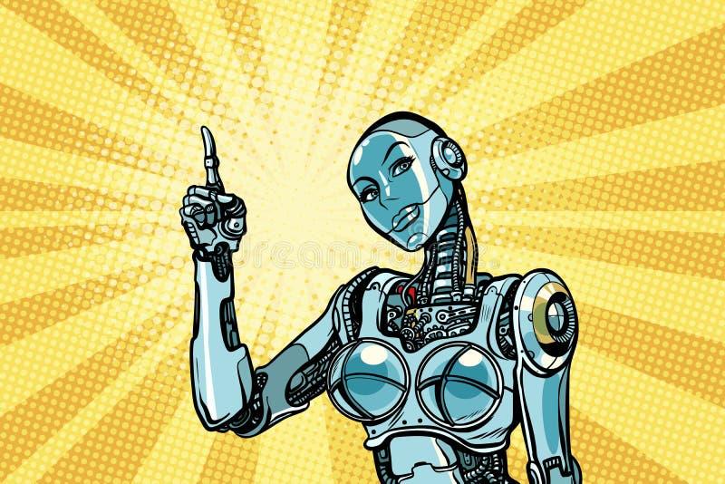 Красивый робот женщины показывает иллюстрация штока
