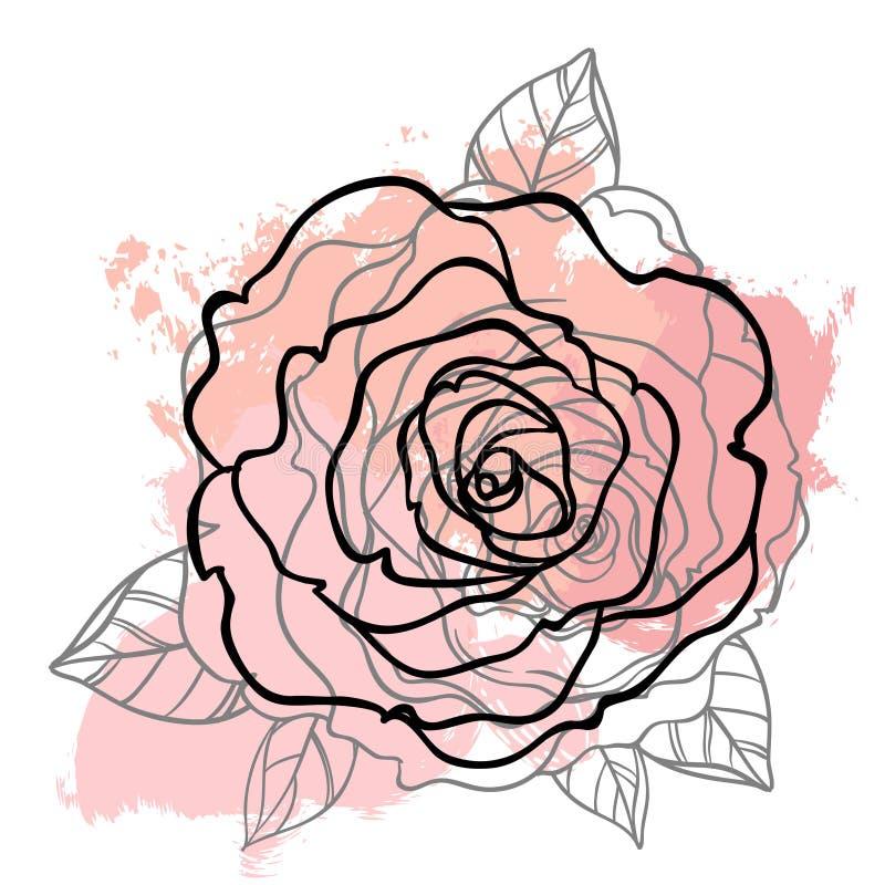 Красивый розовый чертеж букета на бежевой предпосылке grunge Рука иллюстрация вектора