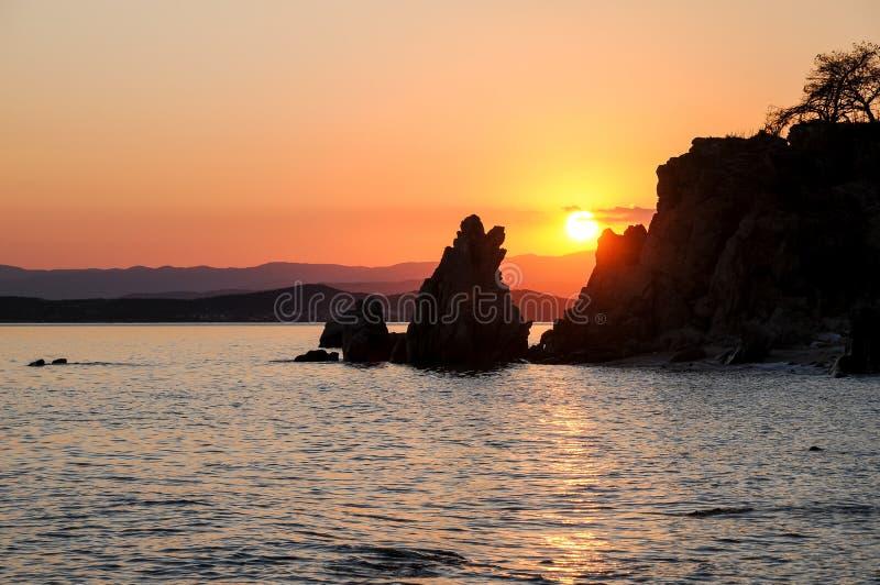Красивый романтичный заход солнца стоковое изображение rf