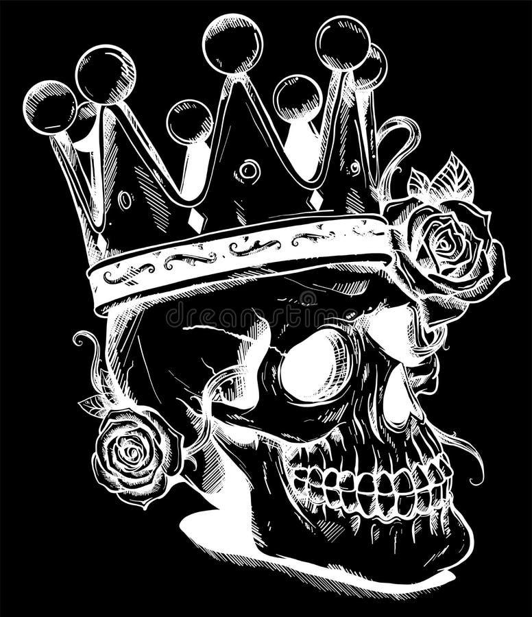 Красивый романтичный череп с кроной и элегантным венком цветков Чернила на постаретой предпосылке года сбора винограда карточки Г иллюстрация штока