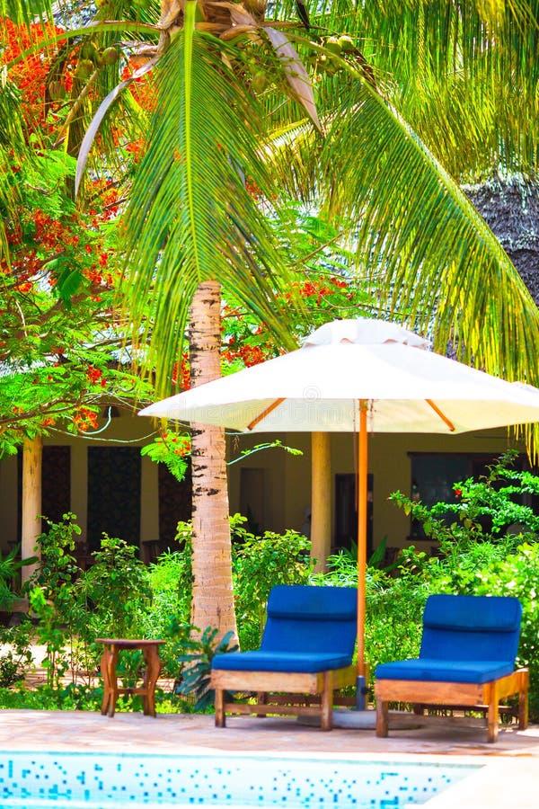 Красивый роскошный ландшафт вокруг бассейна в курорте гостиницы стоковое фото