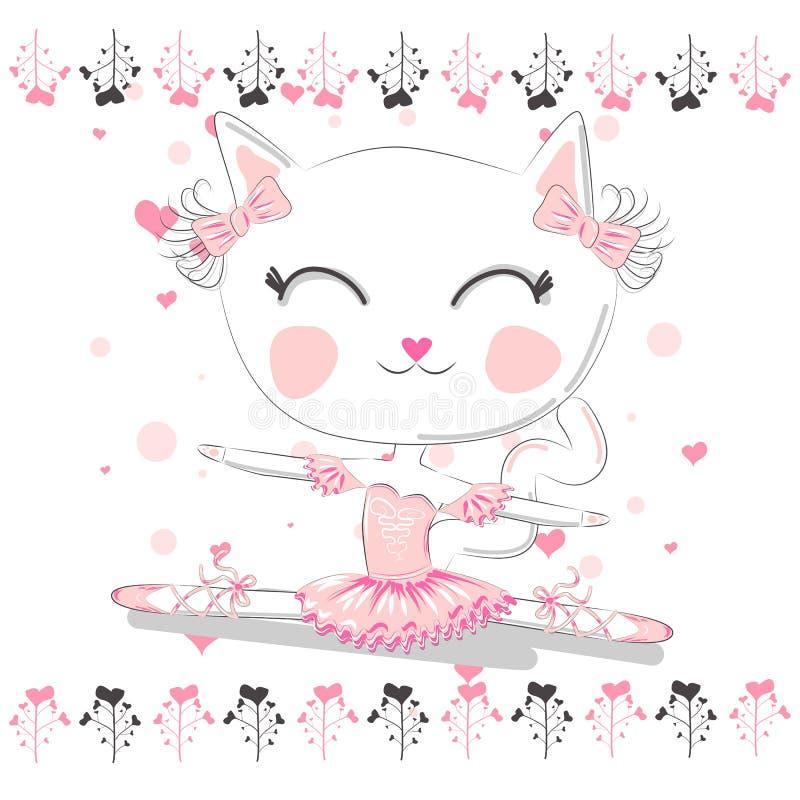 Красивый руки вычерченный, прекрасный, маленький кот балерины бесплатная иллюстрация