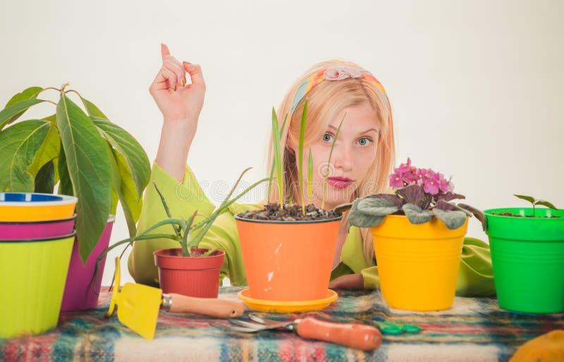 Красивый садовничать молодой женщины Моча цветки Женщина садовника засаживая цветки Милая блондинка садовничая на изолированный стоковое фото rf
